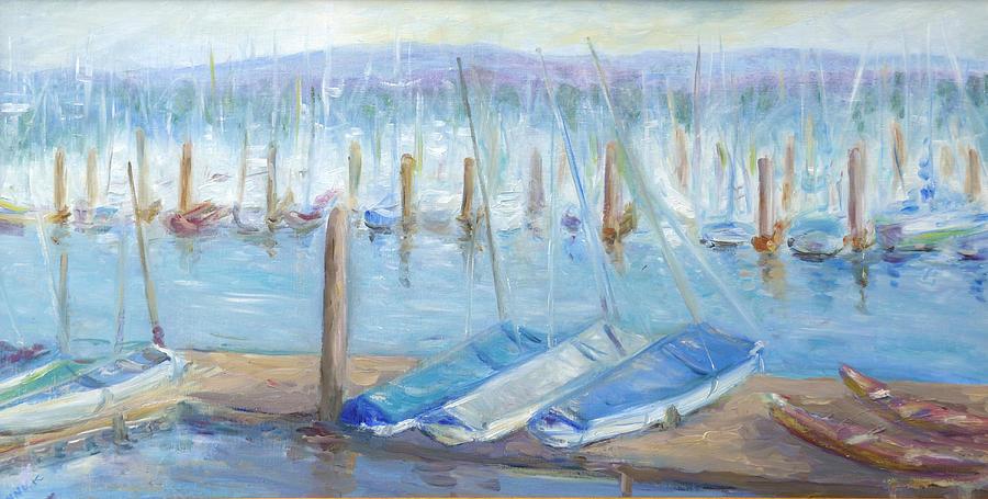 Harbor Scene Painting - Oregon Harbor by Barbara Anna Knauf