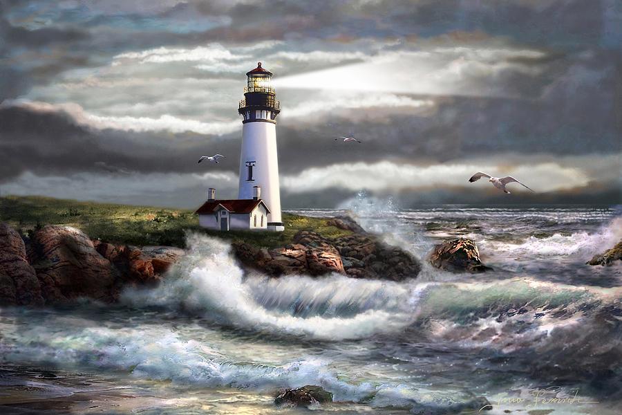 Ocean Scene Painting - Oregon Lighthouse Beam of hope by Regina Femrite