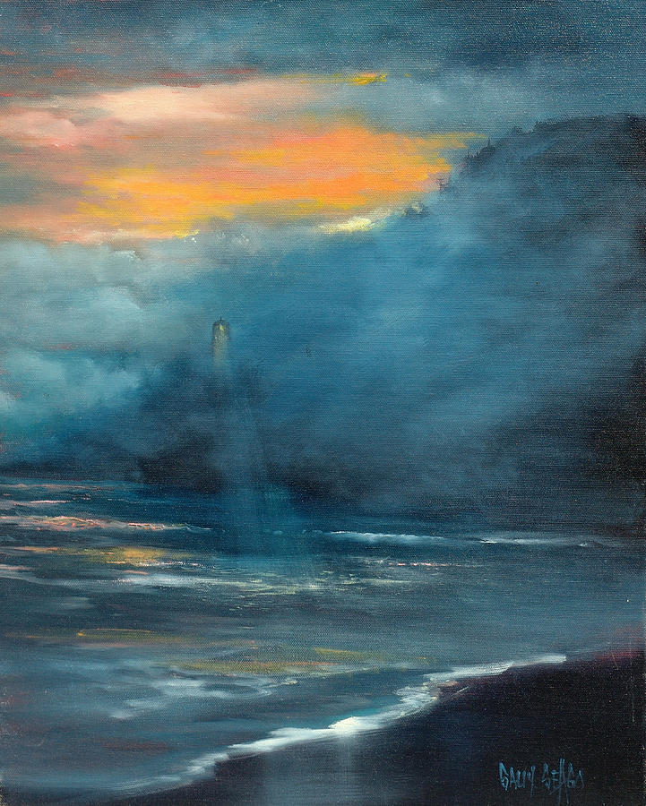 Ocean Painting - Oregon Lighthouse by Sally Seago