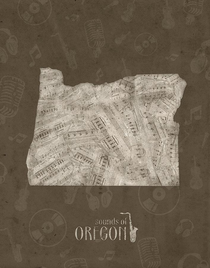 Oregon Digital Art - Oregon Map Music Notes 3 by Bekim M
