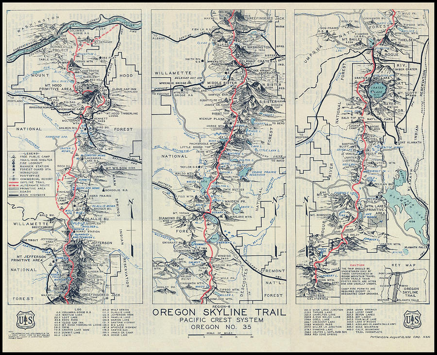 Oregon Skyline Pacific Crest Hiking Map 1936