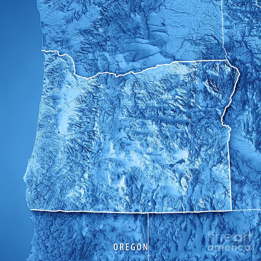 Oregon State Usa 3d Render Topographic Map Blue Border Digital Art