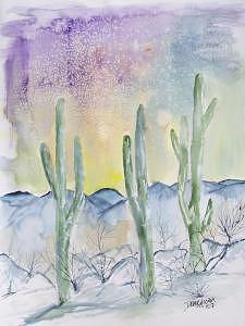 Impressionistic Painting - Organ Pipe Cactus desert southwestern painting poster print by Derek Mccrea