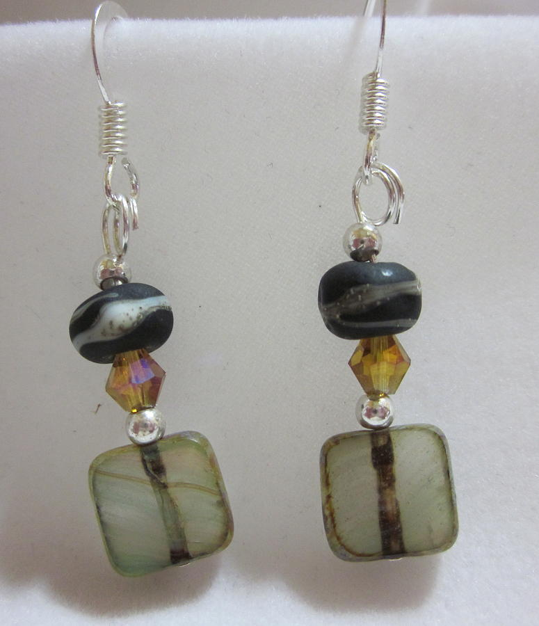 Black Jewelry - Organic Earth Tone Earrings by Janet  Telander