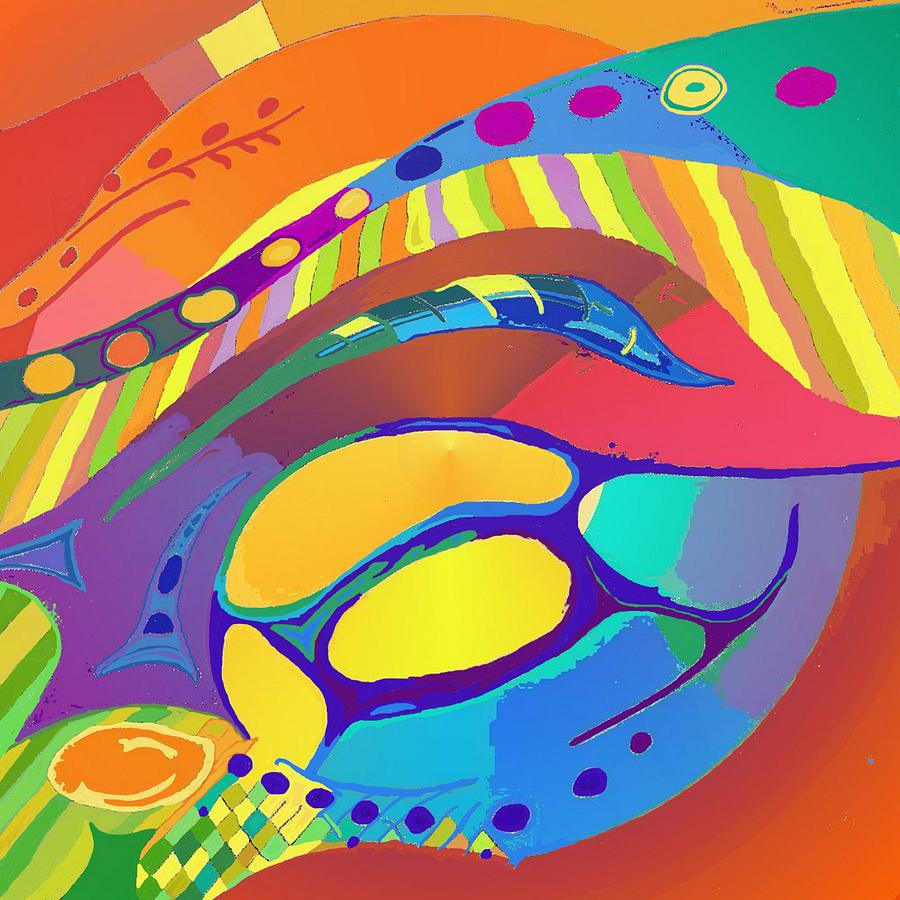 Organic Digital Art - Organic Life Scan Or Cellular Light - Blue by Julia Woodman