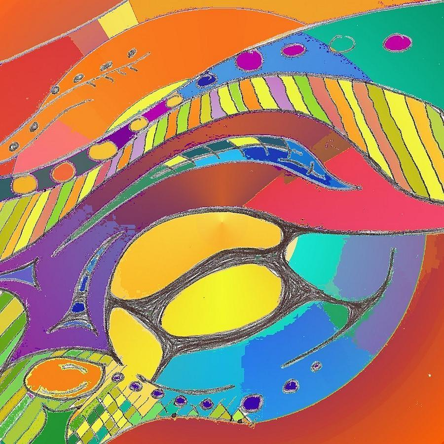 Organic Digital Art - Organic Life Scan Or Cellular Light - Original, Square by Julia Woodman