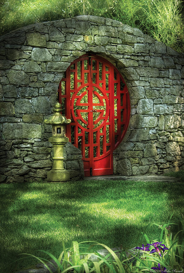 Door Photograph - Orient - Door - The Moon Gate by Mike Savad