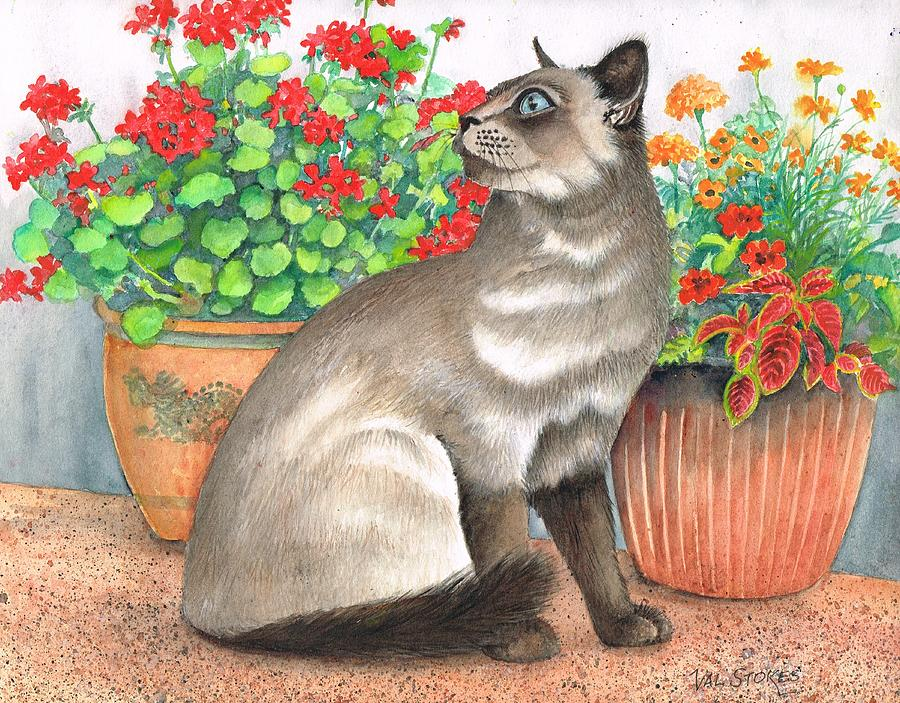Dark Tail Painting - Oriental Cat by Val Stokes
