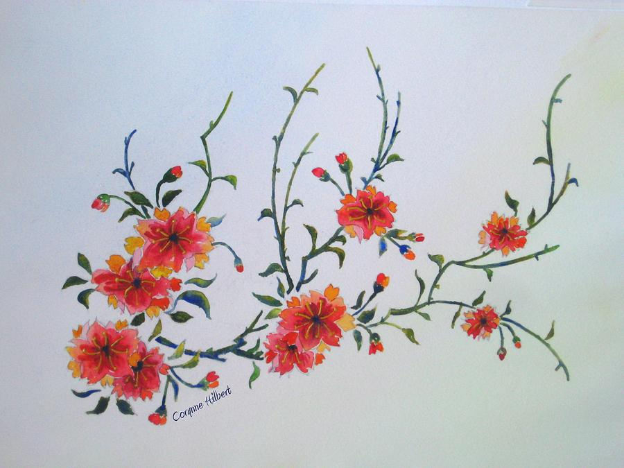 Oriental Floral Beauty Painting By Corynne Hilbert
