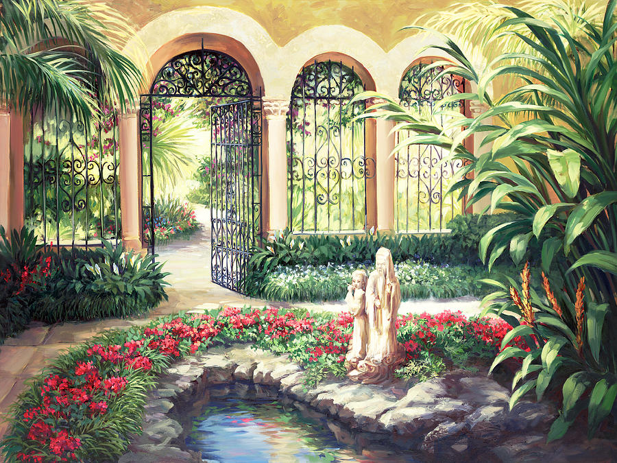 Landscape Painting - Oriental Garden by Laurie Snow Hein
