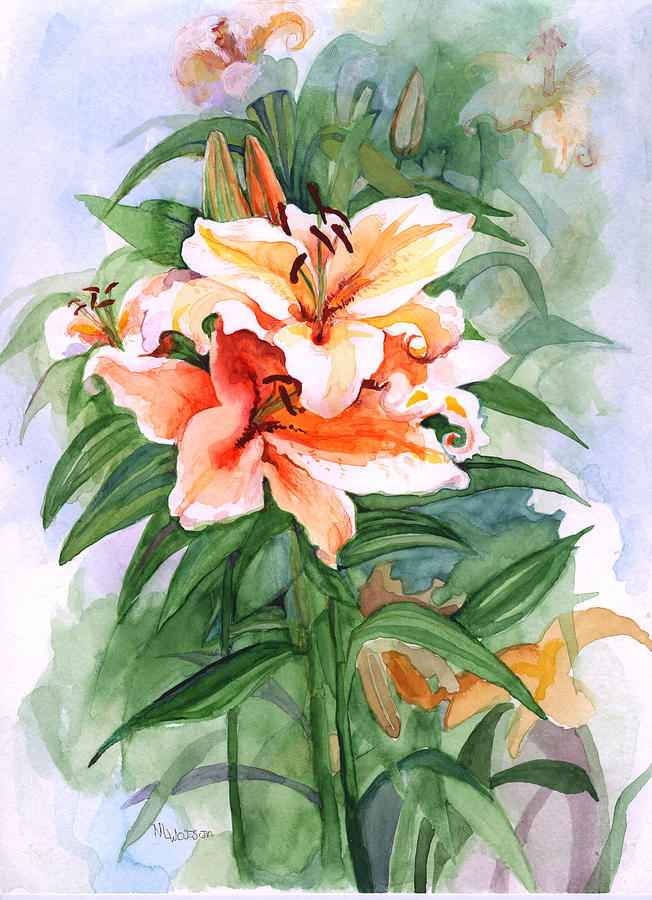 Lily Painting - Oriental Lilies by Nancy Watson