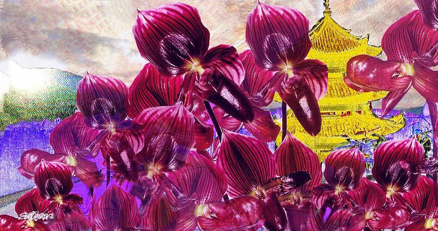 Far East Digital Art - Oriental Orchid Garden by Seth Weaver