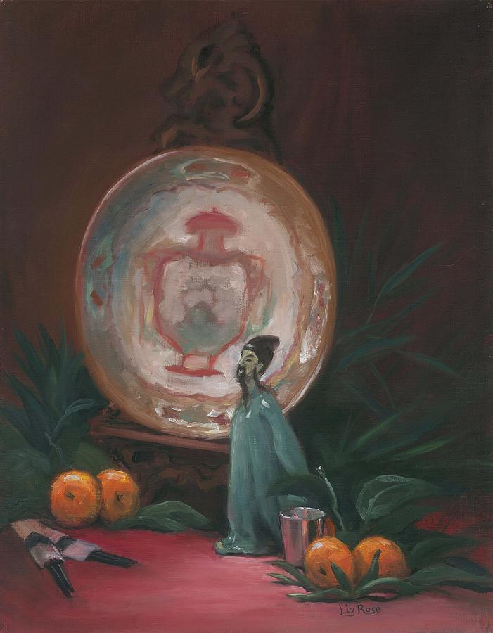 Still Life Painting - Oriental Plate by Liz Rose