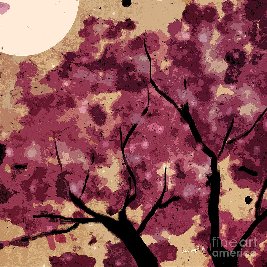 Oriental Mixed Media - Oriental Plum Blossom by Xueling Zou