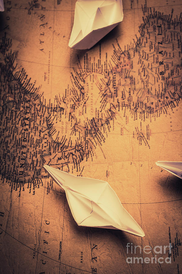 Journey Photograph - Origami Boats On World Map by Jorgo Photography - Wall Art Gallery