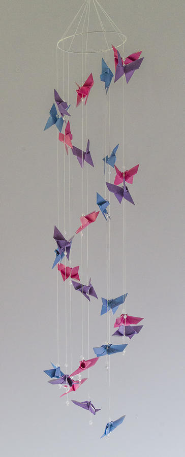 Origami Butterfly Spiral Mobile 1622 Mixed Media By Karen Celella