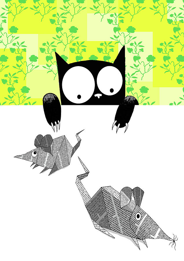 Cat Drawing - Origami Mice  by Andrew Hitchen