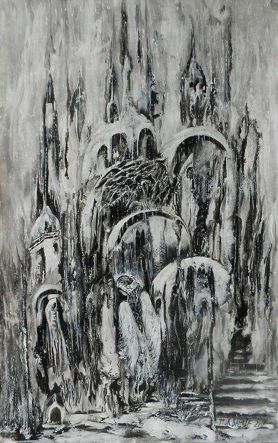 Abstract Painting Painting - Original Abstract Black And White Painting The Return Of The Angel  by Natalya Zhdanova