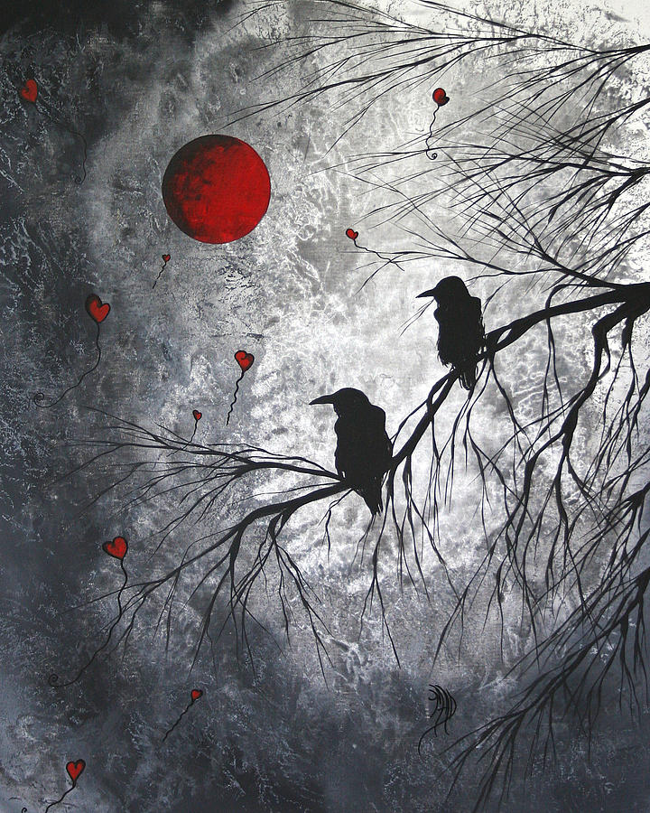 Birds Painting - Original Abstract Surreal Raven Red Blood Moon Painting The Overseers by MADART by Megan Duncanson