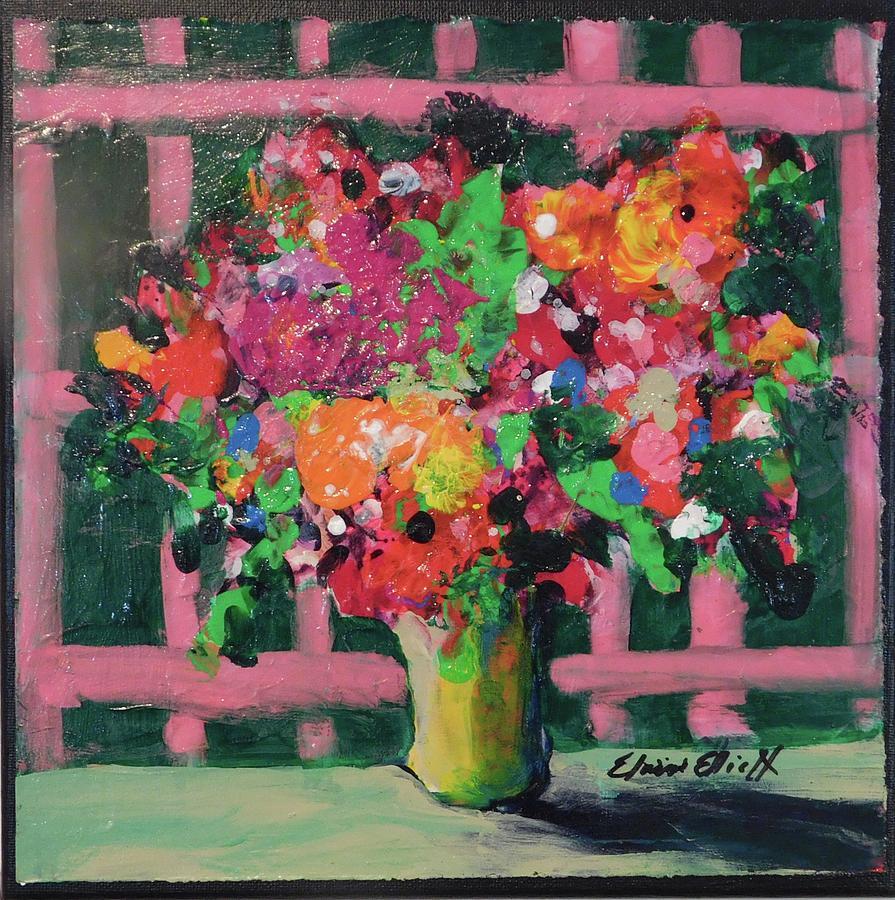 Original Painting - Original Bouquetaday Floral Painting By Elaine Elliott 59.00 Incl Shipping 12x12 On Canvas by Elaine Elliott