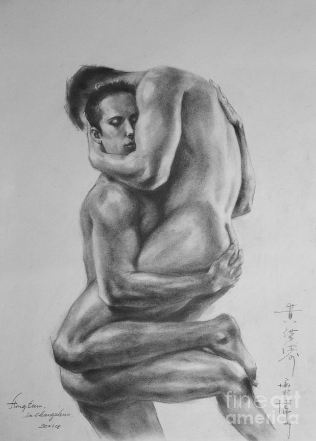 Hongtao painting original drawing sketch charcoal male nude gay interest man art pencil on paper