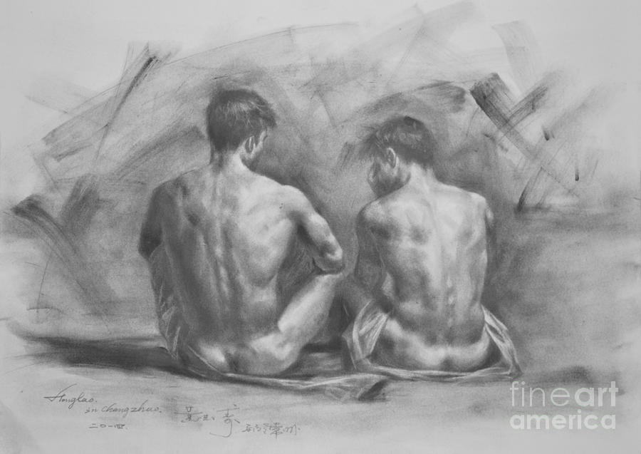 man woman naked in bed sketches