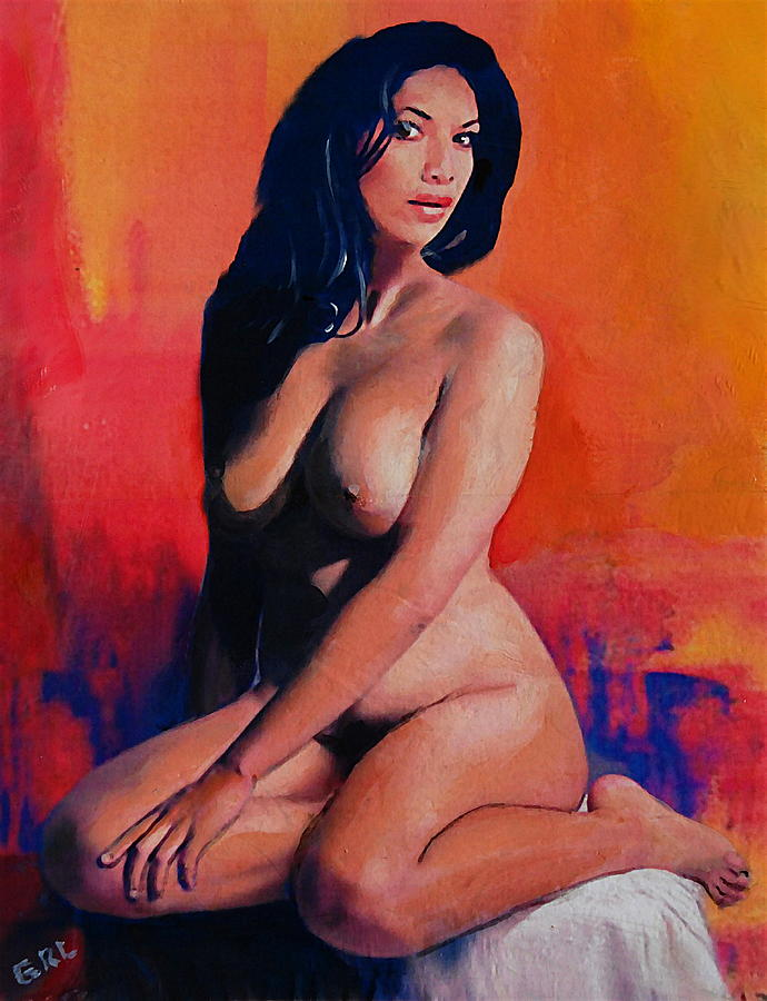 Original Female Nude Goddess Eirene I Sitting Orange Red Background by G Linsenmayer