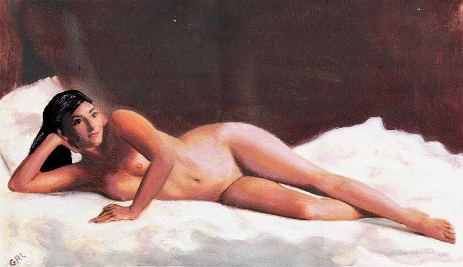 Original Painting - Original Fine Art Female Nude Reclining On White by G Linsenmayer