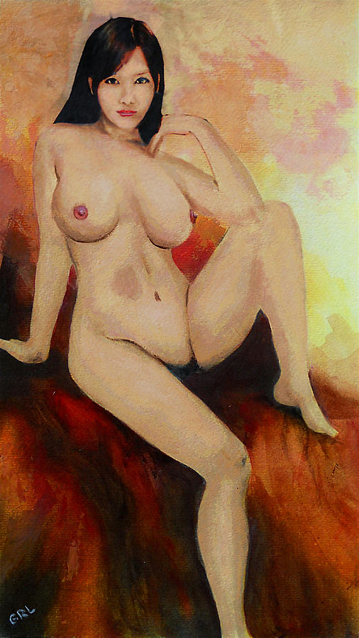 Original Painting - Original Fine Art Female Nude Sitting Yellow Red Background Multimedia Painting by G Linsenmayer