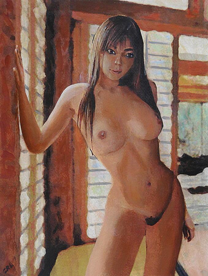 Original Painting - Original Fine Art Female Nude Standing Multimedia Painting by G Linsenmayer
