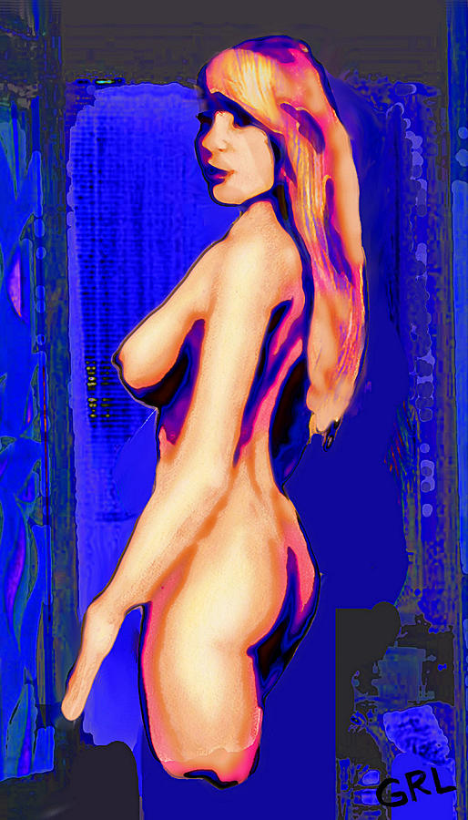 Original Fine Art Nude Jess Standing Oil Acrylic Sketch Colorized by G Linsenmayer