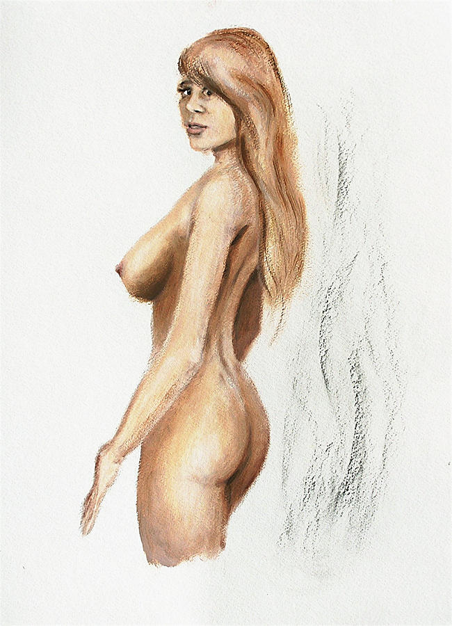 Original Fine Art Nude Jess Standing Oil Acrylic Sketch by G Linsenmayer