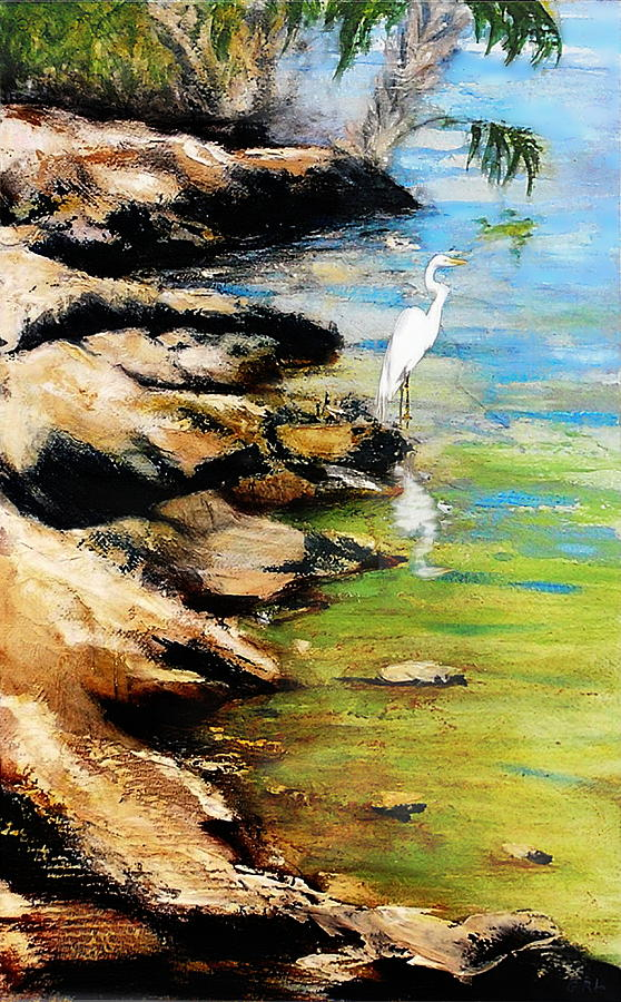 Original Fine Art Painting Pool Edge Gulf Coast Florida by G Linsenmayer