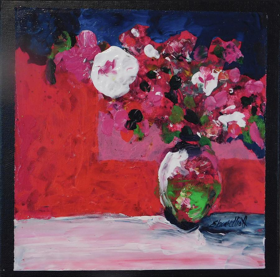 Original Painting - Original Floral Painting By Elaine Elliott, 12x12 Acrylic And Collage, 59.00 Incl. Shipping, Contemp by Elaine Elliott