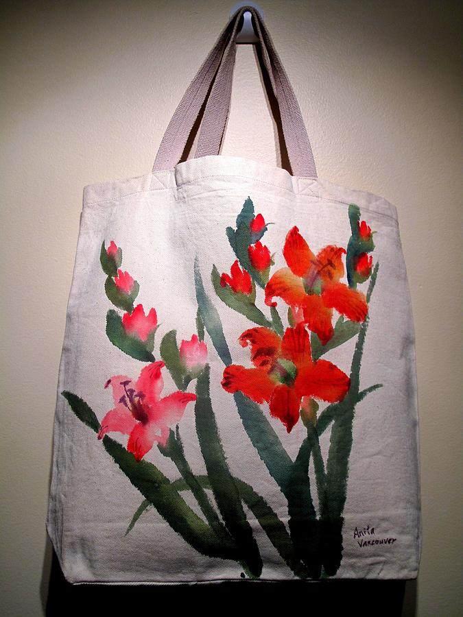 Flowers Mixed Media - Original Hand Painted Tote Bag by Anita Lau