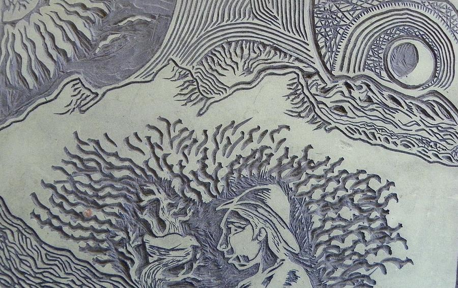 Abstract Relief - Original Linoleum Block Print by Thor Senior