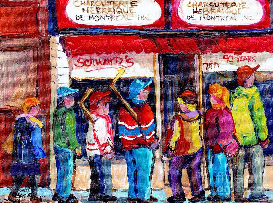Schwartzs Deli Painting - Original Montreal Schwartz Paintings For Sale Winterscene Canadian Hockey Scenes C Spandau Artist    by Carole Spandau