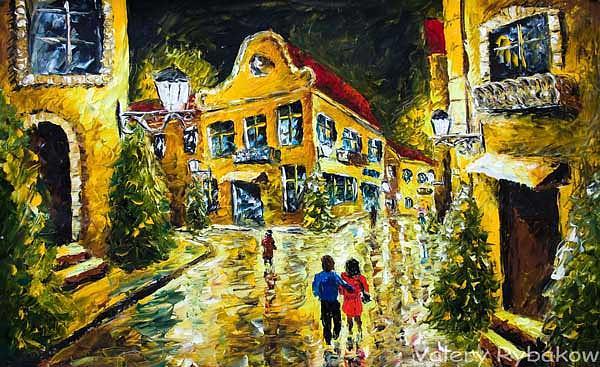 Night Painting - Original Oil Painting Night Street Palette Knife Impressionism Paintings - Valery Rybakow by Valery Rybakow
