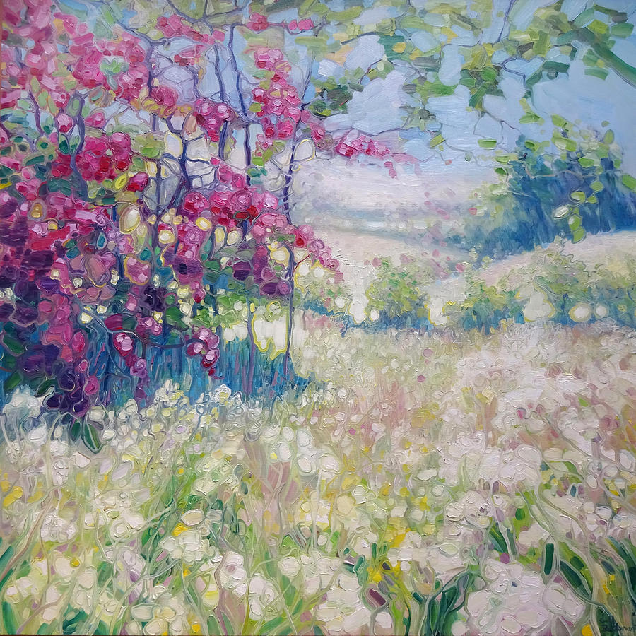 Original oil painting spring meadow in sussex painting for Spring canvas paintings