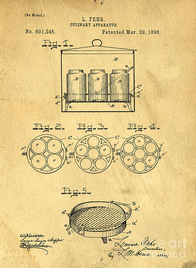 Kitchen Photograph - Original Patent For Canning Jars by Edward Fielding
