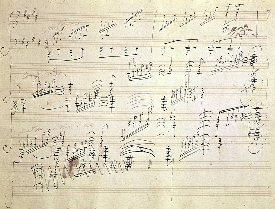 Beethoven Drawing Original Score Of Beethovens Moonlight Sonata By Beethoven