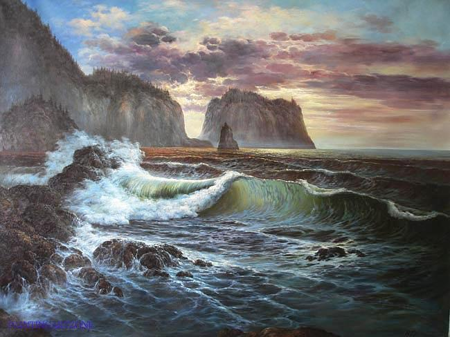 Oil Painting Painting - Original Sea Oil Painting 3 by Daisy Lin