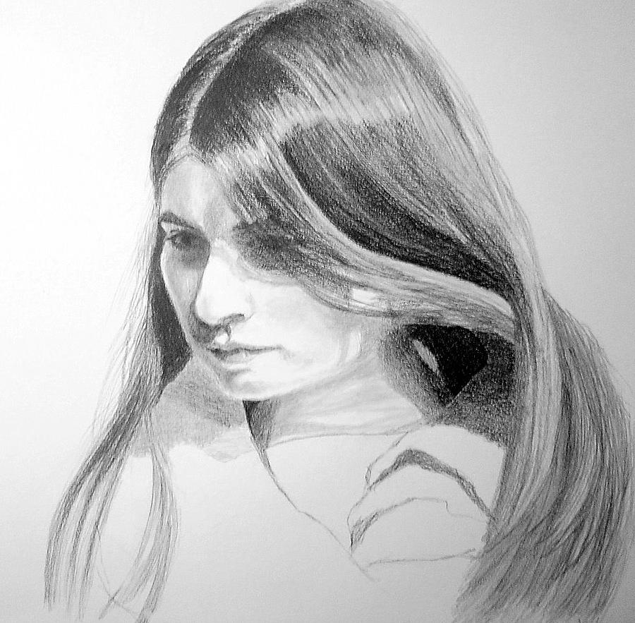 Portrait Drawing - Original Sketch Of Young Woman by Susan Tilley
