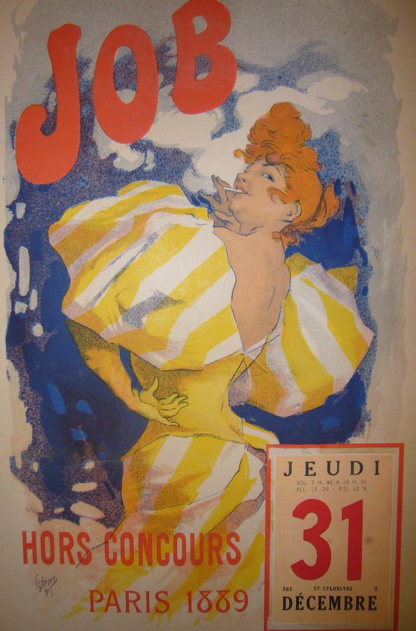 Poster Mixed Media - Original Vintage Calendar 1889 by Cheret Jules