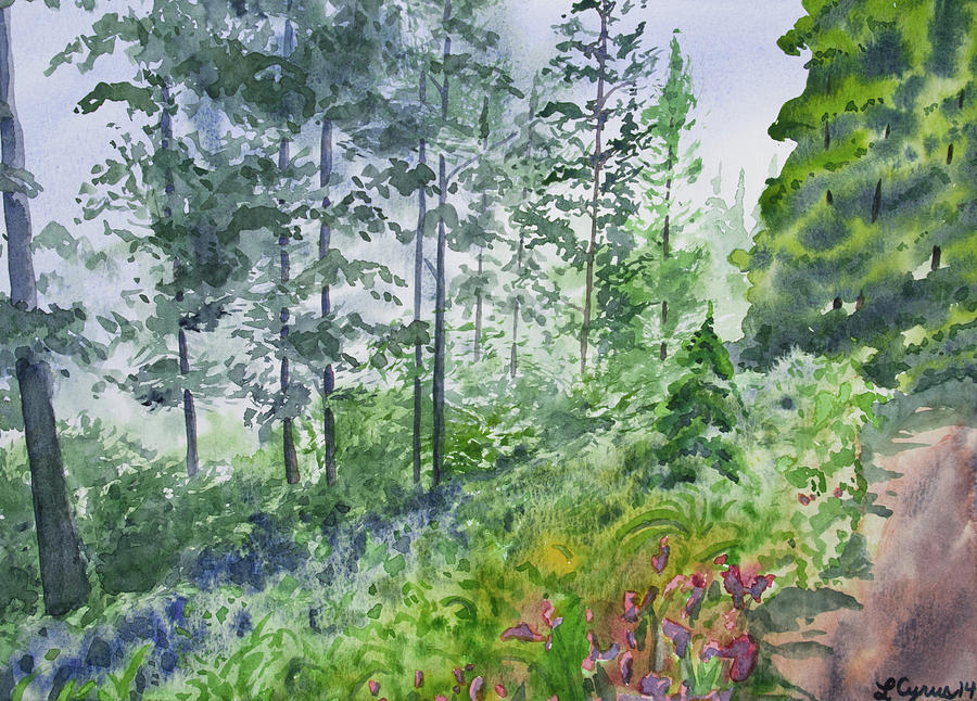 Original Watercolor Painting - Original Watercolor - Summer Pine Forest by Cascade Colors