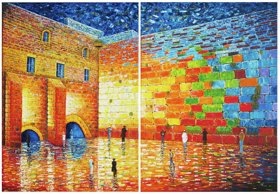 Original Western Wall Jerusalem Wailing Wall acrylic 2 panels by Georgeta Blanaru