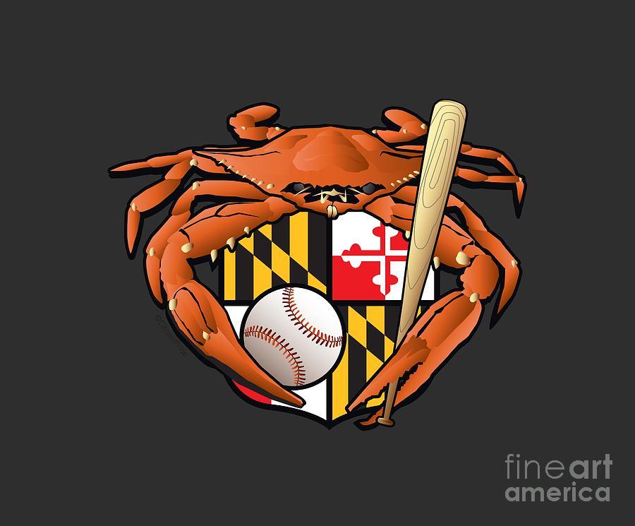 Baltimore Orioles Digital Art - Oriole Baseball Crab Maryland Crest by Joe Barsin