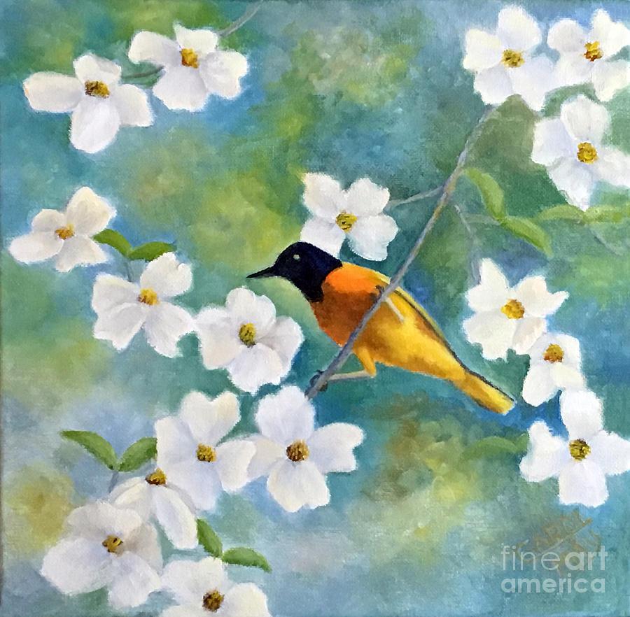 Bird Painting - Oriole n Dogwood by Art by Carol May