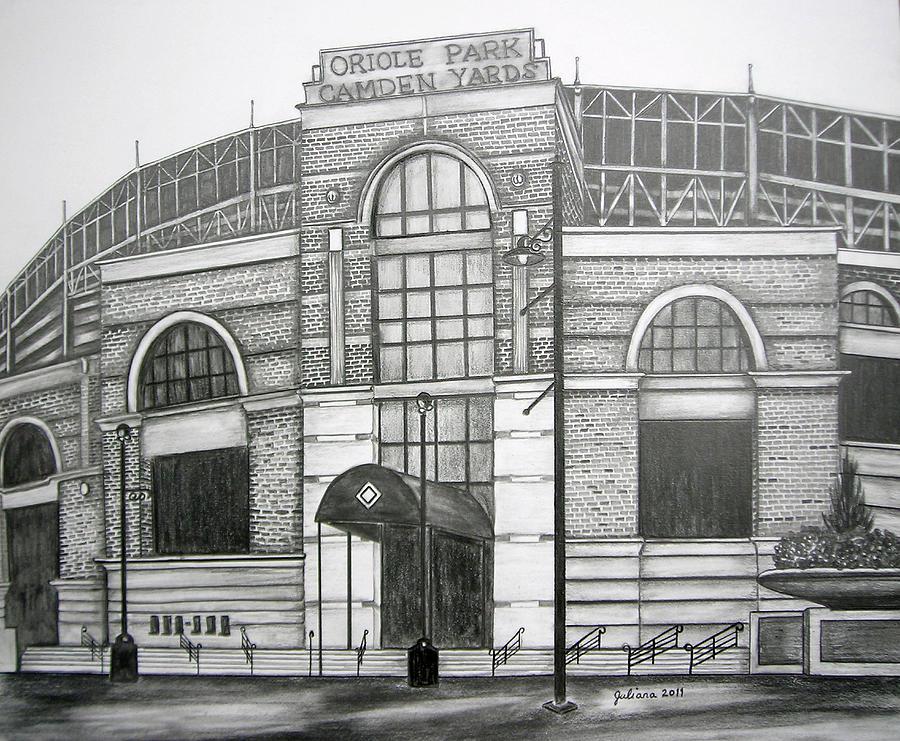 Camden Yards Drawing - Oriole Park Camden Yards by Juliana Dube