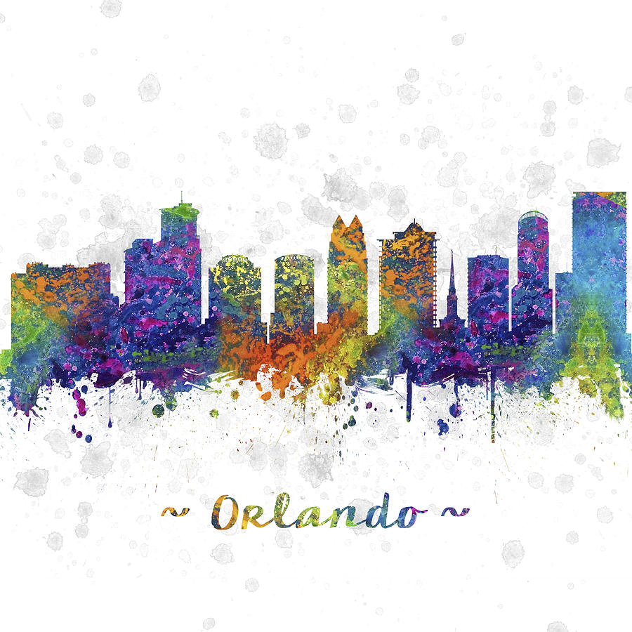 Orlando Florida Skyline Color 03sq Digital Art By Aged Pixel